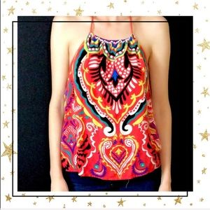 Flying Tomato halter red paisley Small top (C4)
